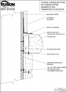 stone veneer installation drawing DS-17-Transition-to-Stucco